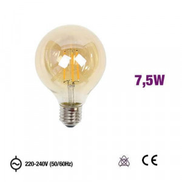 Lâmpada E27 G95 Led Filamento 7,5W 2300K AMBER GLASS