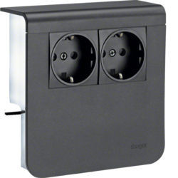 SL200809009011 - Sup. 2xSchuko SL20080, preto grafite HAGER EAN:4012740895446