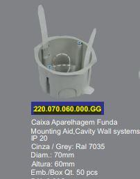 SOFLIGHT 220.070.060.000.GG - Caixa Funda para Paredes Ocas