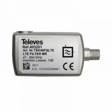 """403201 -8424450188965 TELEVES - Filtro LTE Média Rejeição (MR) """"F"""" 47...694MHz VHF/UHF (C21-48), Interior"""