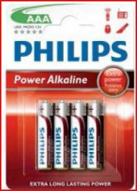 9000311 - 8433373050099 Bateria alcalina PHILIPS LR03 (AAA) Embalagem de blister 4 unidades