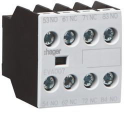 EVA007 - Contacto Aux. ligação frontal 2NA+2NF HAGER EAN:3250612232055