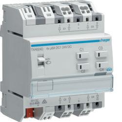 TXA624D - Actuador estores/pers. 4 canais 24V KNX HAGER EAN:3250616048768