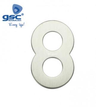 003302618 - Porta número 8 de aço inoxidável com adesivo 8433373026186