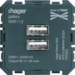 WXF112 - gallery 2M Tomada USB carreg. 3A HAGER EAN:3250617191128