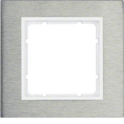10113609 HAGER B.7 - quadro x1, Inox/branco mate***