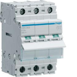 SBN363 - Interruptor Modular 3P 63A HAGER EAN:3250615510228