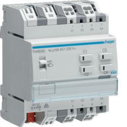 TXA604D - Actuador bin./est. 4 canais 16A Cap KNX HAGER EAN:3250616048867