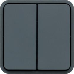WNA040 - cubyko - Comutador escada duplo, cinz HAGER EAN:3250617174404