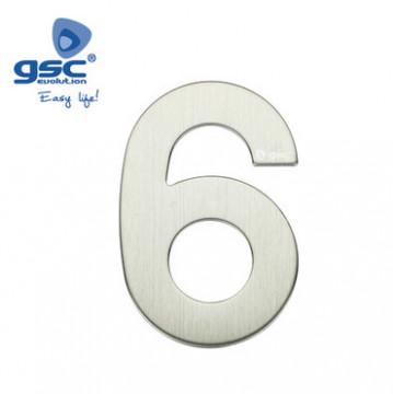 003302616 - Porta número 6 de aço inoxidável com adesivo 8433373026162