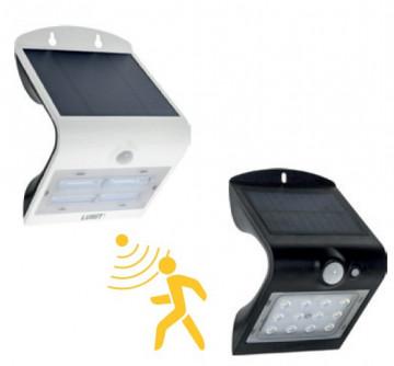 Aplique LED solar 1,5W c/ sensor e bateria 120º 6000K