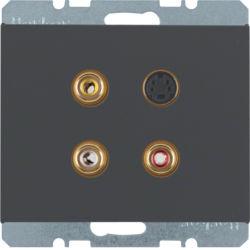 BERKER - 3315327006 - K.1/K.5 - tomada 3xRCA+S-video, antrc mt 23
