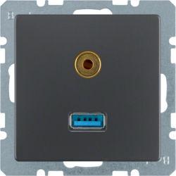 BERKER - 3315396086 - Q.x - USB / jack 3.5mm, antracite 23