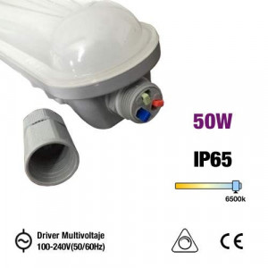 OMNIUM ELECTRIC - PL-LED20F1570D - Luminária industrial, IP65, LED 50W, 1570x70x70mm, 100-240V, 50-60Hz, fosco 6500K