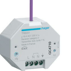 TRB201 - Actuador binário 1 canal 16A RF KNX HAGER EAN:3250615989314