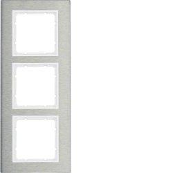 10133609 HAGER B.7 - quadro x3 vert, Inox/branco mate***