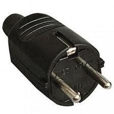 200059 - 8436021940599 Plugue bipolar reto entrada de cabo 4.8mm Preto
