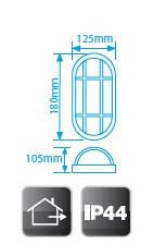700643 - 8436021946430 Aplique grade de metal de plástico oval, E27 60W Branco