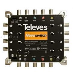 """714403 -8424450172865 TELEVES - Multiswitch 5x5x8 """"F"""" Terminal/Cascata, QUAD Compatível (Inclui F.Alimentação 12V-0,8A)"""