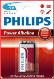 9000315 - 8433373050136 Bateria alcalina PHILIPS 9V Embalagem de blister 1 Ud.