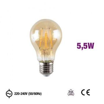 Lâmpada E27 A60 Led Filamento 5,5W 2300K AMBER GLASS