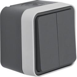 WNC040 - cubyko s - Comutador escada duplo, cinz HAGER EAN:3250617170406