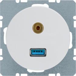 BERKER - 3315392089 - R.1/R.3 - USB / jack 3.5mm, branco 23