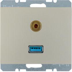 BERKER - 3315397004 - K.1/K.5 - USB / jack 3.5mm, inox lac 23