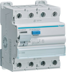 CFC625A - Inter. dif. 3P+N 25A 300 mA tipo AC 4M HAGER EAN:3250611621416