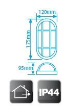 700153 - 8436021941534 Luminária de parede oval de plástico, E27 60W 230V Black