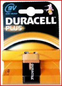 9000105 - 5000394105485 Pilha alcalina DURACEL Plus 9V, Blister 1