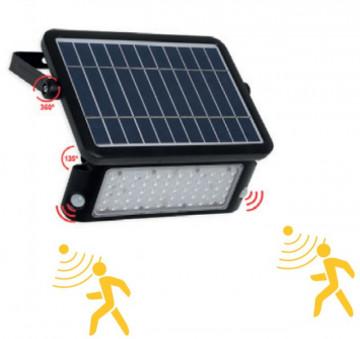 Aplique LED solar 10W c/ sensor e bateria 120º 6000K