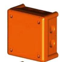 J100S-F - JSL Caixa de derivação saliente IP66/IK08 (102x102x56) ANTIFO-FOGO com entradas roscadas (6xM20+1xM25) plást. 1/4 volta - 90minutos (E90)
