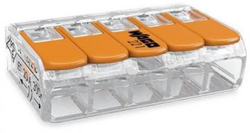 WAGO - Ligador compacto | até 0 4mm' | laranja I transparente | 5 condutores | ref. 221-415