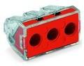 WAGO - Ligador PUSH WIRE | até 0 2,5mm' | vermelho / transparente | 3 condutores | ref.773-173