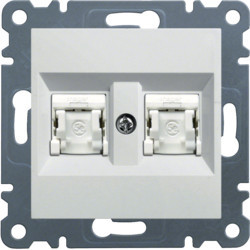 WL2160 - lumina 2 RJ45 Cat.6 UTP duplo, branco HAGER EAN:8694407001160