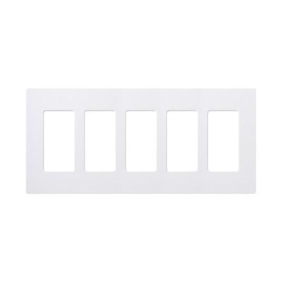 LUTRON ELECTRONICS - CW5-WH - Placa de pared 5 espacios para atenuador (dimmer) switch ó control remoto PICO inalámbrico