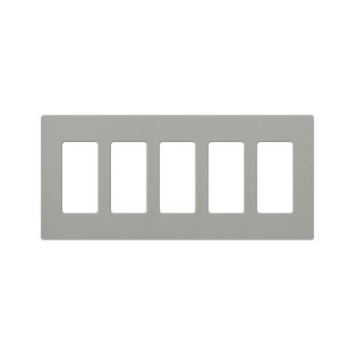 LUTRON ELECTRONICS - CW5-GR - PLACA DE PARED COLOR GRIS 5 ESPACIOS