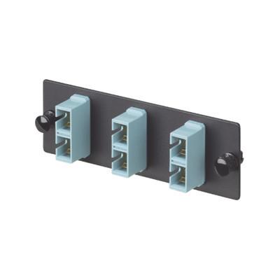 PANDUIT - FAP3WAQDSCZ - Placa Acopladora de Fibra Optica FAP Con 3 Conectores SC Duplex (6 Fibras) Para Fibra Multimodo OM3/OM4 Color Aqua