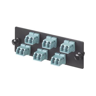 PANDUIT - FAP6WAQDLCZ - Placa Acopladora de Fibra Optica FAP Con 6 Conectores LC Duplex (12 Fibras) Para Fibra Multimodo OM3/OM4 Color Aqua