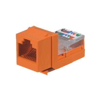 PANDUIT - NK5E88MORY - Conector Jack Estilo Leadframe Tipo Keystone Categoría 5e de 8 posiciones y 8 cables Color Naranja