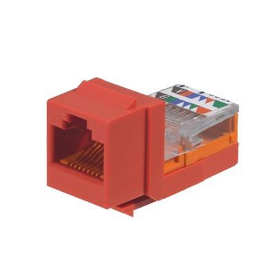 PANDUIT - NK5E88MRDY - Conector Jack Estilo Leadframe Tipo Keystone Categoría 5e de 8 posiciones y 8 cables Color Rojo