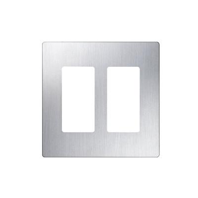 LUTRON ELECTRONICS - CW2-SS - Placa de pared 2 espacios diseño tipo metálico para atenuador (dimmer) apagador ó control remoto inalámbrico LUTRON.