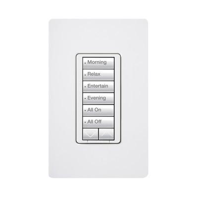 LUTRON ELECTRONICS - RRD-H6BRL-WH - Teclado hibrido seetouch 6 botones 2 botones subir/bajar intensidad 120V/450W color blanco.