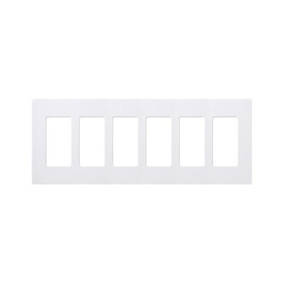 LUTRON ELECTRONICS - CW6-WH - Placa de pared 6 espacios para atenuador (dimmer) switch ó control remoto PICO inalámbrico