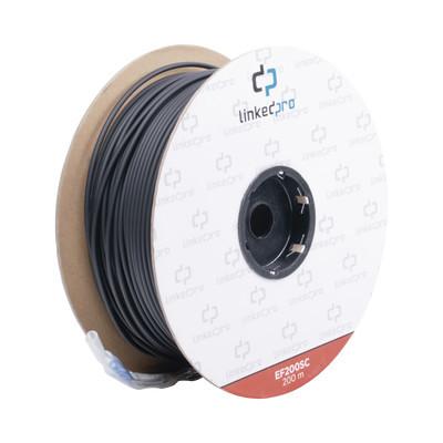 LINKEDPRO - EF-200-SC - Carrete de Fibra Óptica Monomodo con conectores SC-SC Duplex Reforzada con Kevlar de 200 metros