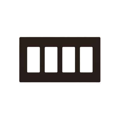 LUTRON ELECTRONICS - CW4-BR - PLACA DE PARED COLOR CAFÉ 4 ESPACIOS