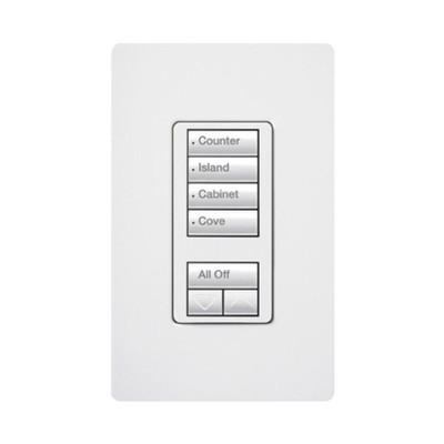 LUTRON ELECTRONICS - RRDHN4SWH - Botonera 4 botones hibrida requiere cable neutro para el control del circuito.