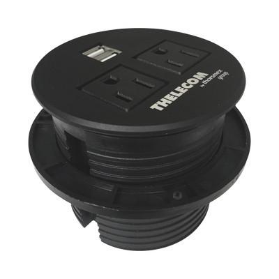 THORSMAN - TMCE2USB2B - Multicontactos / USB empotrable color negro no incluye cable de poder