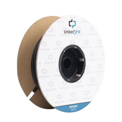 LINKEDPRO - EF-50-SC - Carrete de Fibra Óptica Monomodo con conectores SC-SC Duplex Reforzada con Kevlar de 50 metros